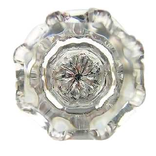 1 3/8 Inch Crystal Octagon Old Town Cabinet Knob (Polished Chrome Base)