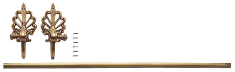 "24"" Towel Bar Art Deco Style In Solid Brass (Antique Brass Finish)"