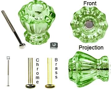 Astoria 1 1/4 Inch Depression Green Decagon Teardrop Glass Knob