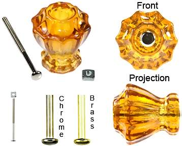 Astoria 1 1/4 Inch Honey Amber Decagon Teardrop Glass Knob