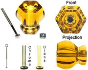 1 1/2 Inch Warm Amber Glass Knobs
