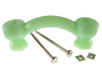 4 1/4 Inch Overall (3 Inch c-c) Jade or Jadeite (Milk Green) Glass Pulls