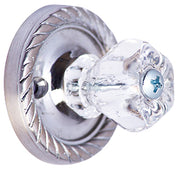 1 Inch Clear Hexagon Crystal Cabinet Knob (Polished Chrome Base)