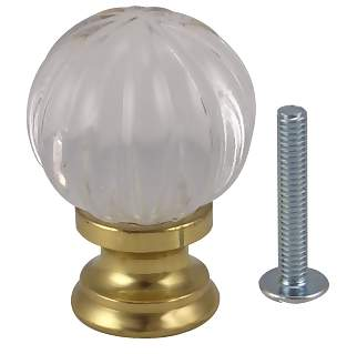 1 1/4 Inch Polished Brass and Crystal Pumpkin Style Knob