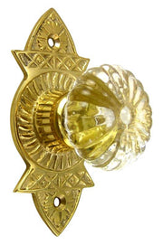 1 3/4 Inch Crystal Swirl Knob Eastlake Backplate (Polished Brass Finish)