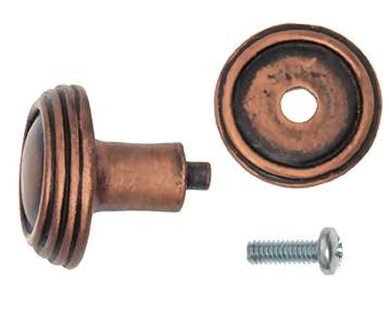 1 1/4 Inch Solid Pewter Ribbon & Reed Sonnet Knob & Backplate (Antique Copper Finish)