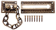 Egg & Dart Pattern Solid Brass Door Chain Lock (Antique Brass Finish)