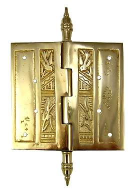 4 1/2 x 4 1/2 Inch Japanesque Style Ornate Solid Brass Hinge (Polished Brass Finish)