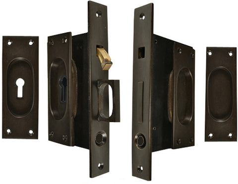 New Traditional Square Pattern Double Pocket Privacy (Lock) Style Door Set (Oil Rubbed Bronze)