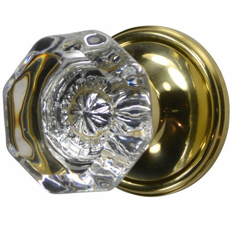 Providence Octagon Glass Door Knob With Victorian Plate