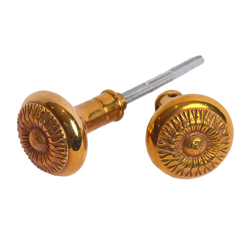 2 1/4 Inch Sunflower Spare Door Knob Set (Polished Brass)