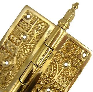 4 x 4 Inch Steeple Tipped Victorian Solid Brass Hinge (Polished Brass Finish)