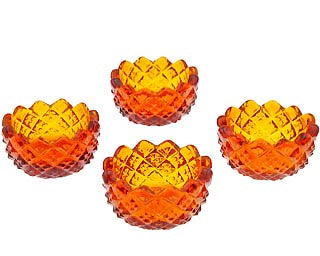 Set of 4 Amber Salt Cellars - Sawtooth