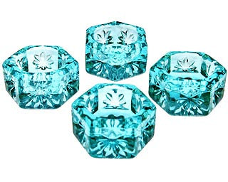 Set of 4 Salt Cellars - Aqua Blue Hexagonal Open Salt Cellar