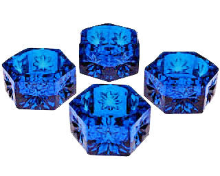 Set of 4 Salt Cellars - Cobalt Blue Hexagonal Open Salt Cellar