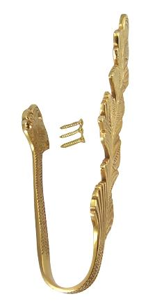 Solid Brass Curtain Tie Back - Oriental Leaves Style (Polished Brass Finish)