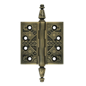 3 1/2 X 3 1/2 Inch Solid Brass Ornate Finial Style Hinge (Antique Brass Finish)