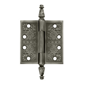4 X 4 Inch Solid Brass Ornate Finial Style Hinge Antique Nickel Finish