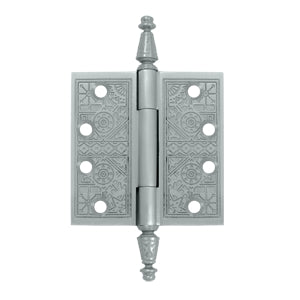 4 X 4 Inch Solid Brass Ornate Finial Style Hinge (Brushed Chrome Finish)