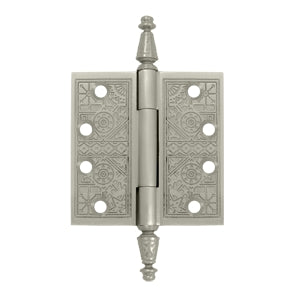 4 X 4 Inch Solid Brass Ornate Finial Style Hinge (Brushed Nickel Finish)