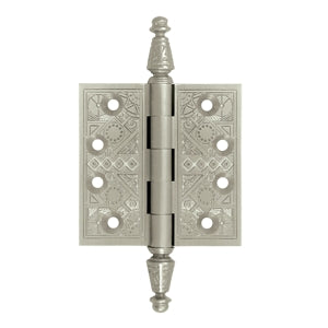 3 1/2 X 3 1/2 Inch Solid Brass Ornate Finial Style Hinge (Brushed Nickel Finish)