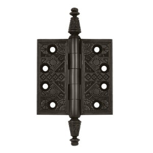 3 1/2 X 3 1/2 Inch Solid Brass Ornate Finial Style Hinge (Oil Rubbed Bronze Finish)
