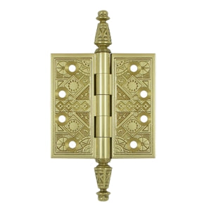 3 1/2 X 3 1/2 Inch Solid Brass Ornate Finial Style Hinge (Polished Brass Finish)