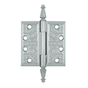 4 X 4 Inch Solid Brass Ornate Finial Style Hinge (Polished Chrome Finish)