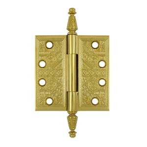 4 X 4 Inch Solid Brass Ornate Finial Style Hinge (PVD Polished Brass Finish)