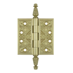3 1/2 X 3 1/2 Inch Solid Brass Ornate Finial Style Hinge (Unlacquered Brass Finish)