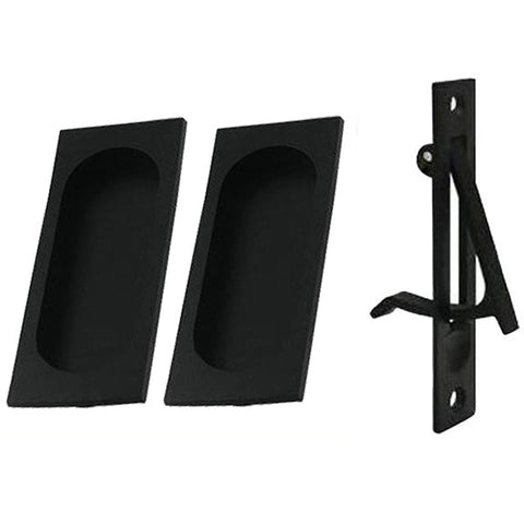 Square Style Single Pocket Passage Style Door Set (Matte Black Finish)