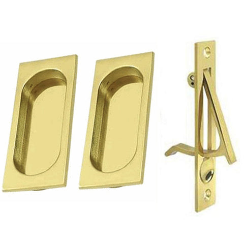 Square Style Single Pocket Passage Style Door Set (Unlacquered Brass Finish)