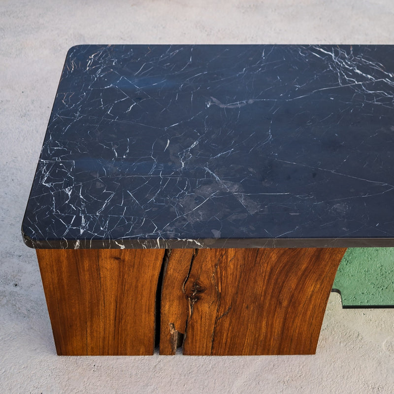 Rubble Interior Design Marketplace, Barcelona Coffe Table. Made with Mahogany Wood, Nero Marquina Black Marble and Glass by Londrina Woodworks