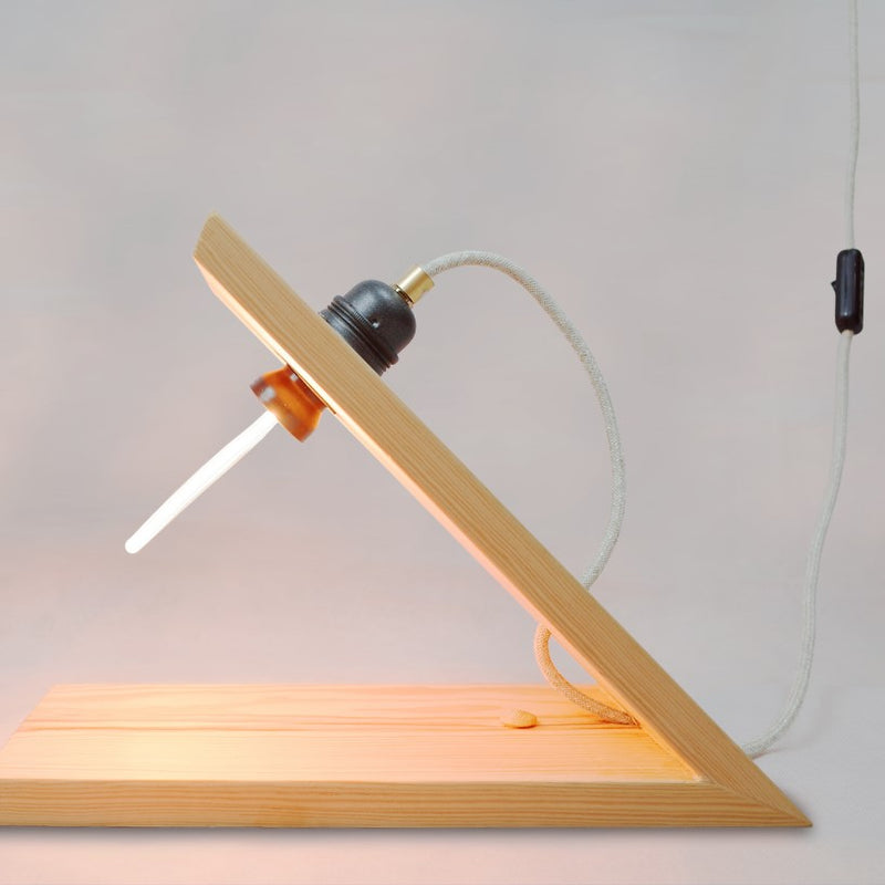 Wood and LED Lambda Lamp by Designer Stavros Kostaskis for Rubble, Marketplace for Interior Design Creators
