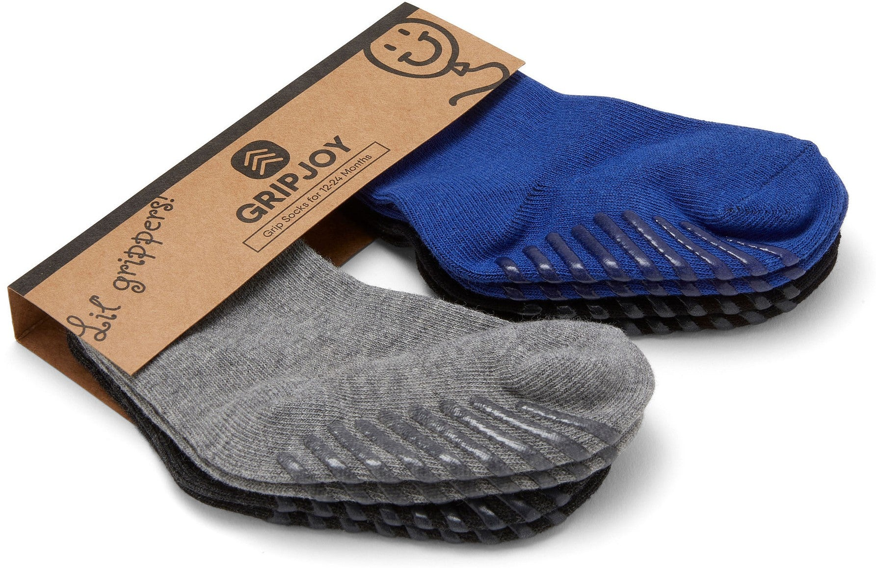 Gripjoy 12-24 Months Boys Toddler Socks with Grips Blue Black & Greys 4-Pack - Gripjoy Socks