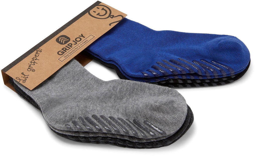 Gripjoy 2-4 Years Boys Toddler Socks with Grips Blue Black & Greys 4-Pack - Gripjoy Socks
