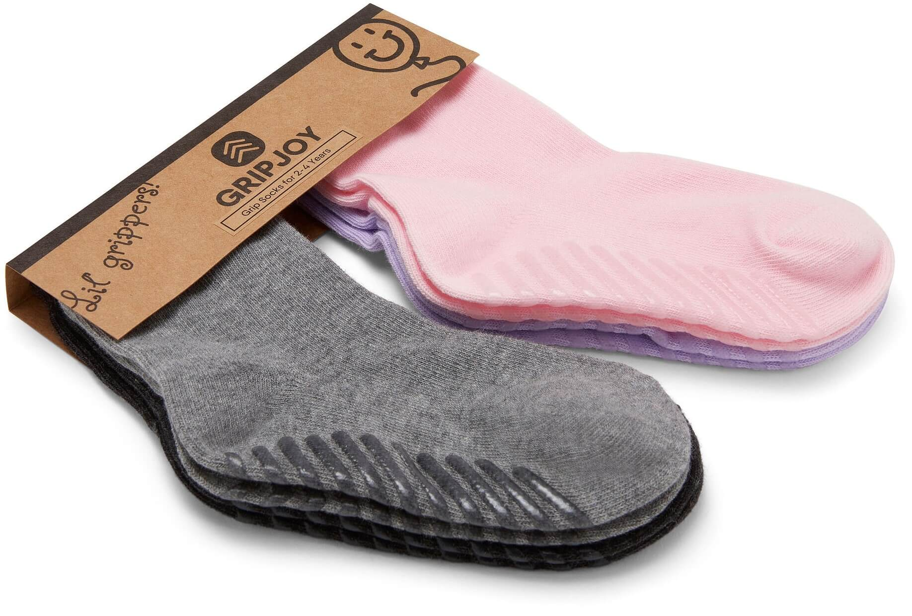 Gripjoy 2-4 Years Girls Toddler Socks with Grips Purple Pink & Greys 4-Pack - Gripjoy Socks
