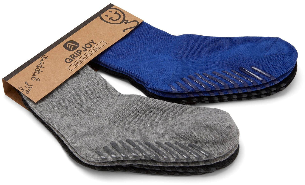 Gripjoy 4-6 Years Kids Boys & Girls Socks with Grips Blue Black & Greys 4-Pack - Gripjoy Socks
