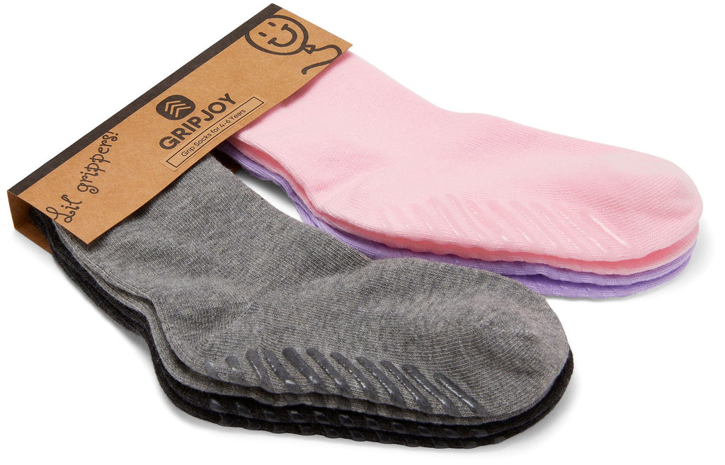 Gripjoy 4-6 Years Kids Girls Socks with Grips Purple Pink & Greys 4-Pack - Gripjoy Socks