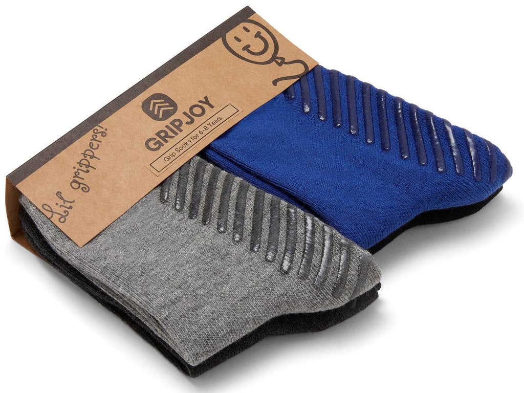 Gripjoy 6-8 Years Kids Boys Socks with Grips Blue Black & Greys 4-Pack - Gripjoy Socks