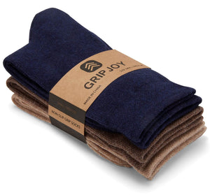 Gripjoy Men's Crew Grip Socks Navy Brown & Tan 3-Pack - Gripjoy Socks