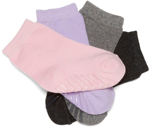 Gripjoy 12-24 Months Toddler Socks with Grips Purple Pink & Greys 4-Pack - Gripjoy Socks