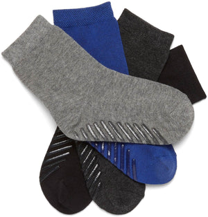 Gripjoy 4-6 Years Kids Boys Socks with Grips Blue Black & Greys 4-Pack - Gripjoy Socks