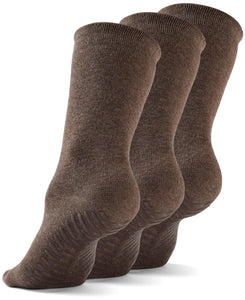 Gripjoy Women's Crew Grip Socks Brown 3-Pack - Gripjoy Socks