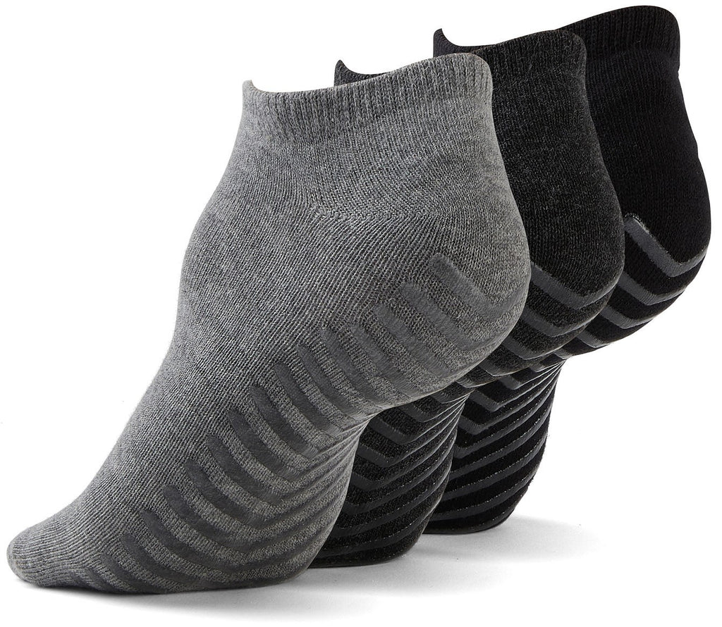 Gripjoy Men's Ankle Grip Socks Black & Greys 3-Pack - Gripjoy Socks