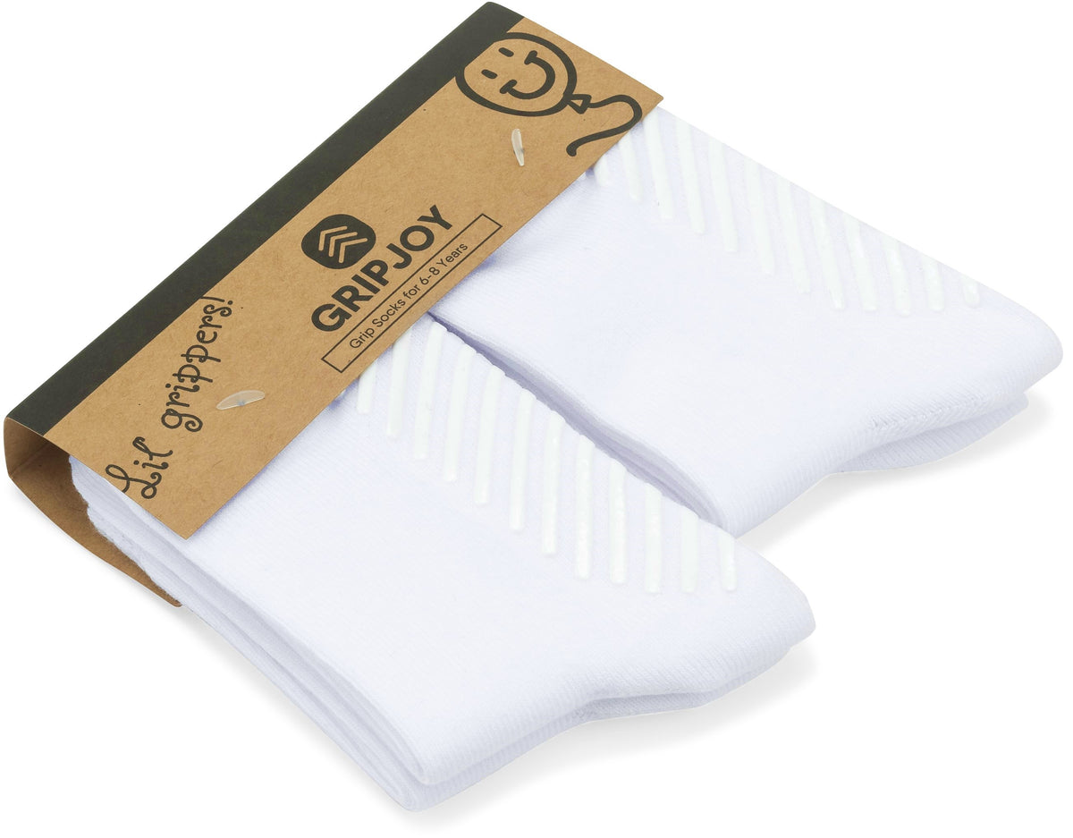 Grip Socks for Toddlers & Kids 6-8 Years 4-Pack - Gripjoy Socks