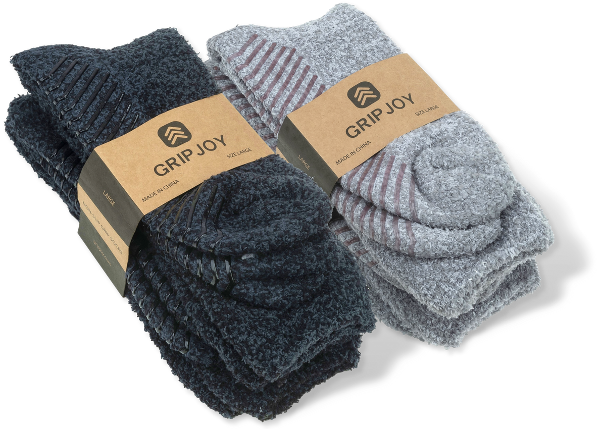 Slipper Socks with Grips for Men x4 Pairs - Gripjoy Socks