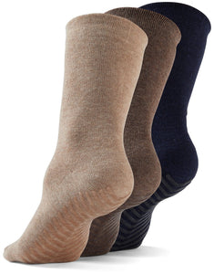Gripjoy Crew Grip Socks Navy/Tan/Brown - 3 Pairs - Gripjoy Socks