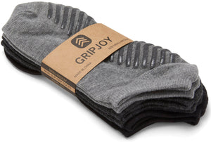 Gripjoy Women's Ankle Grip Socks Black & Greys 3-Pack - Gripjoy Socks