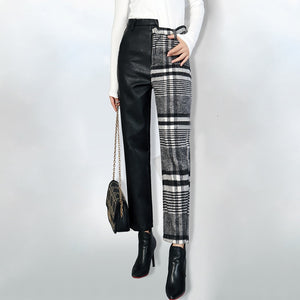 One-Sided Plaid Pant
